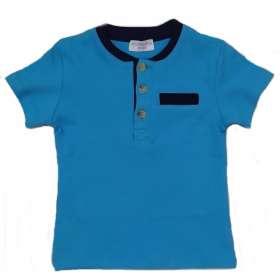 Bébi rövidujjú póló V. kék 3 gombos