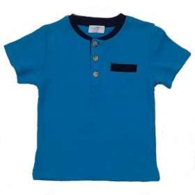 Bébi rövidujjú póló Kék 3 gombos